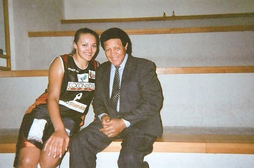 Chubby & Daughter Mistie in Italy at Basketball Game